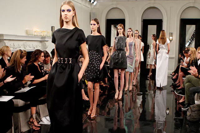 Models on the catwalk for the Victoria Beckham