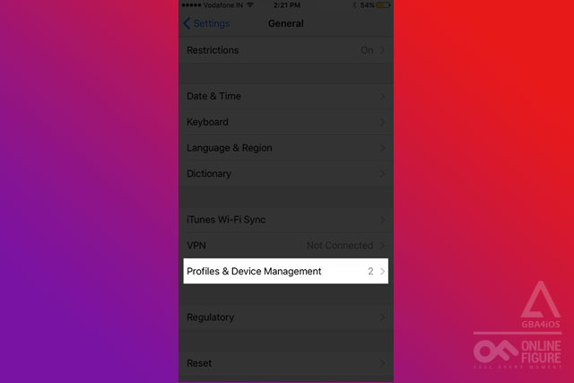 Tap on Profiles and Device Management in iPhone Settings