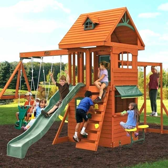 Ridgeview Deluxe Clubhouse Wooden Swing Set/Playset